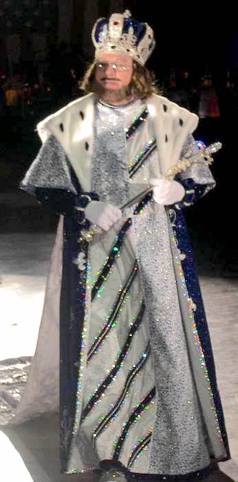 Krewe Royalty Costumes King blue velvet robe with fur collar over brocade and satin long tunic