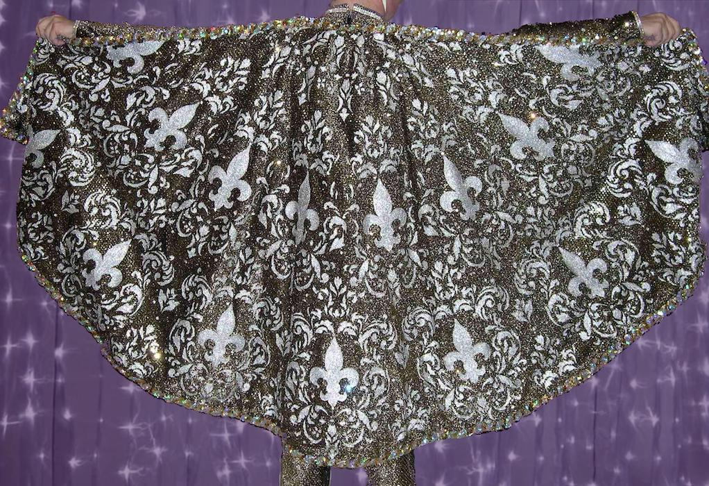 Krewe Royalty Costumes Captain's gold half-circle cape with silver brocade embossing