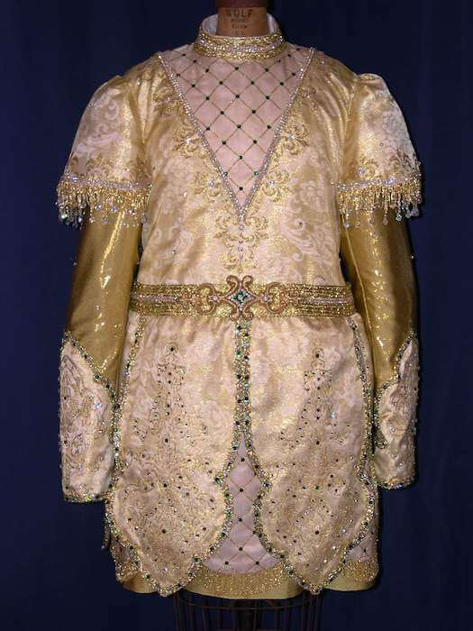 Krewe Royalty Costumes King gold tunic with embossing