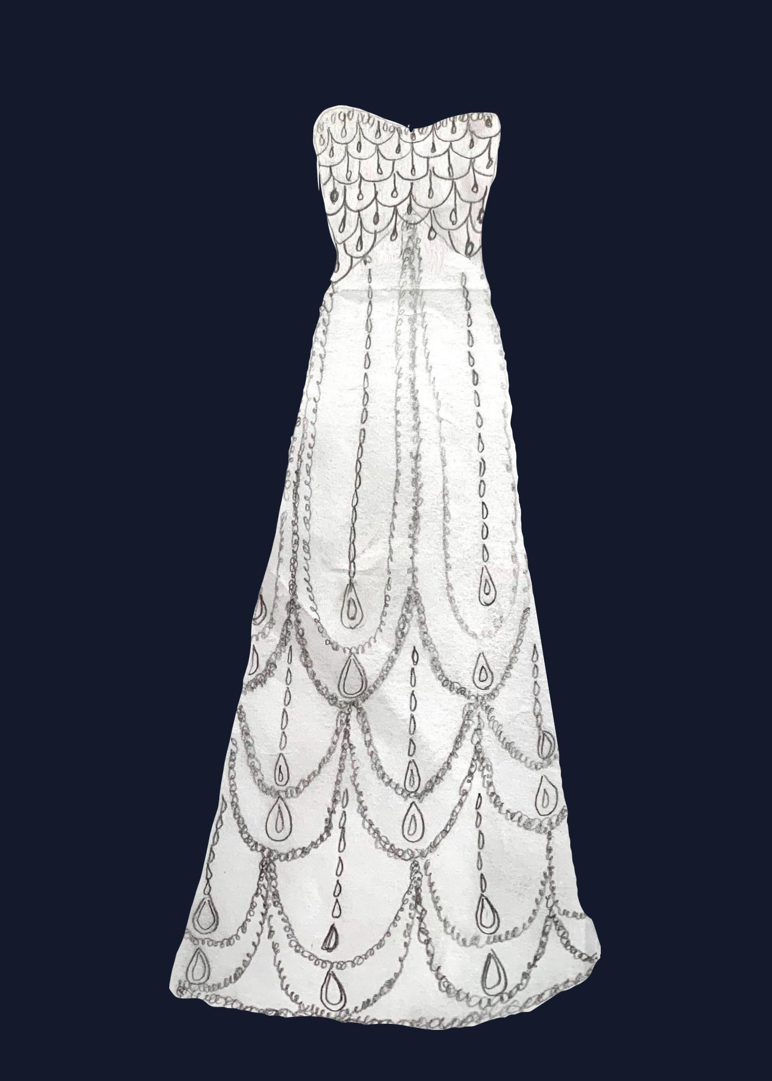 embossed Queen's gown sketch